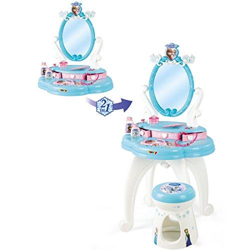 Frozen Schminktisch mit Hocker, drehbarem Spiegel und viel Zubehör - Frozen die Eiskönigin 91cm Kinder Frisier Tisch Schminktisch Kosmetik Spielzeug