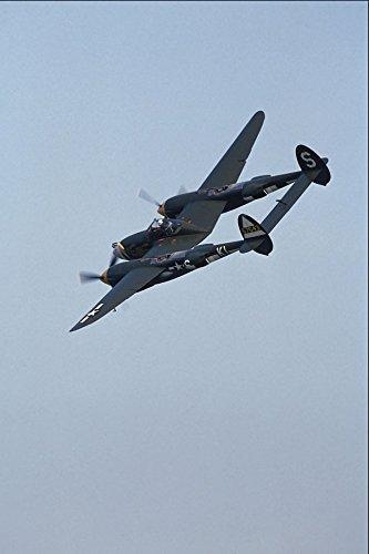 727025 Lockheed P 38J _Lightning_ In Flight Over Duxford England A4 Photo Poster Print 10x8
