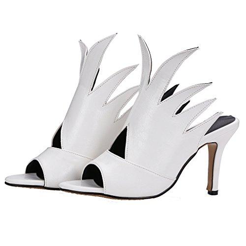 YE Damen Peep Toe Stiletto High Heel Slingback Sandalen Elegant Perty Pumps Schuhe Weiß