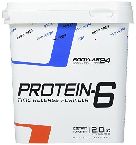 Bodylab24 Protein-6 Geschmack: Pistazie,   Mehrkomponenten Protein Shake, 6 hochwertige Eiweißquellen für Muskelaufbau und Diät, 2000g Box