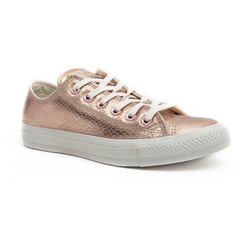 Converse Damen Schuh Chuck Taylor Ox Schlangenhautmuster Silber / weiß Pink