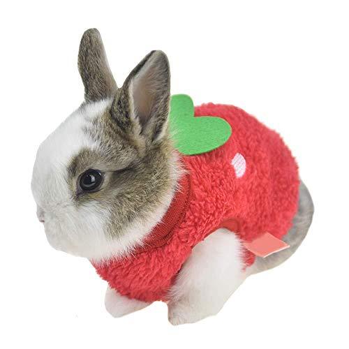 ZLALF Halloween-Haustier-Kostüme Winter-warmes Häschen Kleidet Kleine Tierfrettchen-Kostüm-Ausstattungen,Red-3S (Chinchilla Kostüm Halloween)