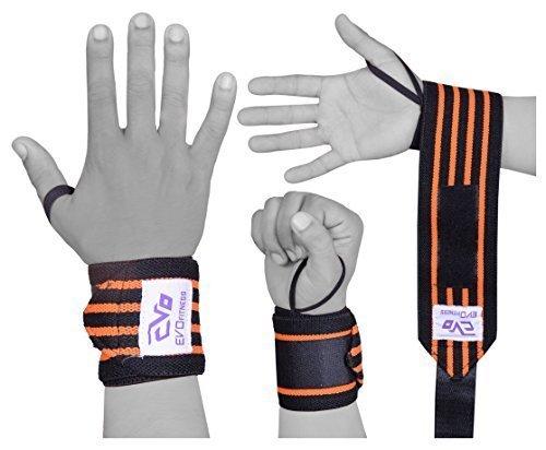 """EVO Fitness 18"""" Sollevamento pesi supporto per polso Esegue Il Wrapping Di Palestra Fascia Elasticizzato Bendaggi"""
