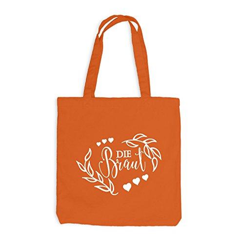 Jutebeutel - Junggesellenabschied - Die BRAUT Nature - JGA Style Orange