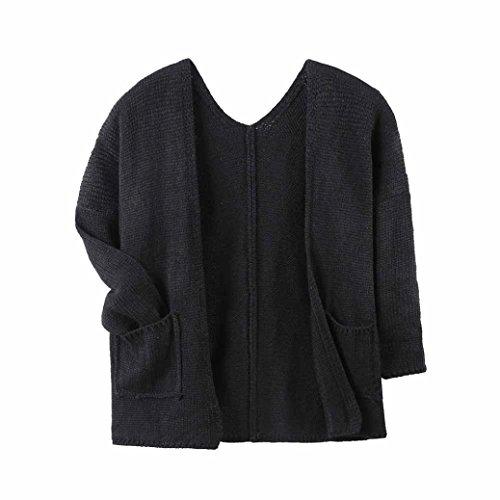 Baby Jacke Huhu833 Baby Mantel, Baby Mädchen Outfit Kleidung Gestrickte Pullover Strickjacke Mantel Tops Outwear (Schwarz, 2T-100CM) (Schwarze Strickjacke 2t)