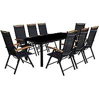[Patrocinado]Festnight Conjunto de Mesa y Sillas Jardin Muebles de Comedor 9 Piezas Negro