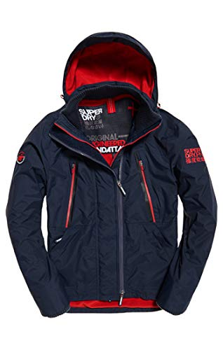 Superdry Men's Hooded Polar Wind Attacker Sports Jacket, Blue (Core Navycarmine Red Uk7), Large