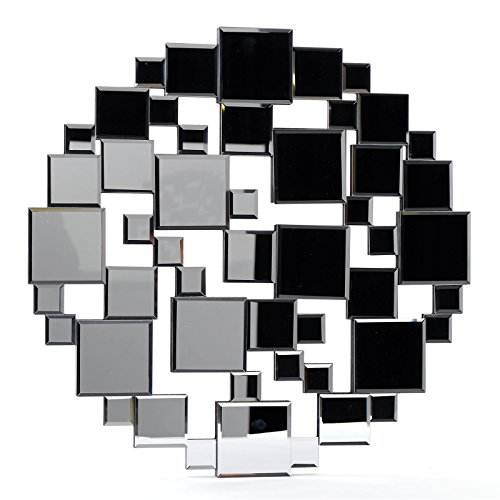 MODERNER WANDSPIEGEL'PUZZLE'   MDF, Ø 60 cm, schwarz   Spiegel, Wanddekoration