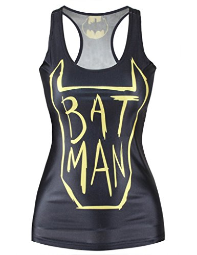 Neue Damen Schwarz Batman Logo Galaxy Tank Weste Tops Sommer Top Fancy Dress Club Wear Kleidung Größe M UK 8–10