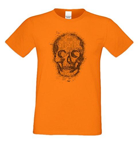 Herren Halloween T-Shirt : Skull : Totenkopf : Biker Freizeit Halloweenshirt Männer : Übergrößen - 5XL in: orange Orange