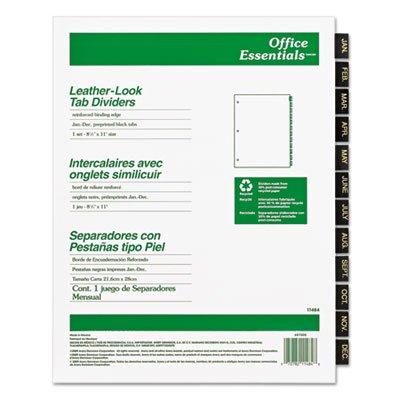 Office Essentials Printed Tab Index Divider Set, 12-tab, Monate, schwarz, 12/Set, verkauft als je - Index Teiler 12