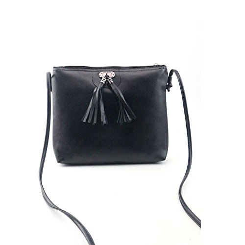 URSING Damen Mini Handtasche Schultertasche Mit Quaste Freizeittasche Umhängetasche Shoppingtasche Ledertasche Damenmode Strandtasche Elegante Handtasche mit Reißverschluss Clutches Shopper (Schwarz) (Cross-klappe)