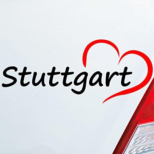 Auto Aufkleber in deiner Wunschfarbe Stuttgart Herz Stadt City Liebe Love Heart 19x8 cm Autoaufkleber Sticker