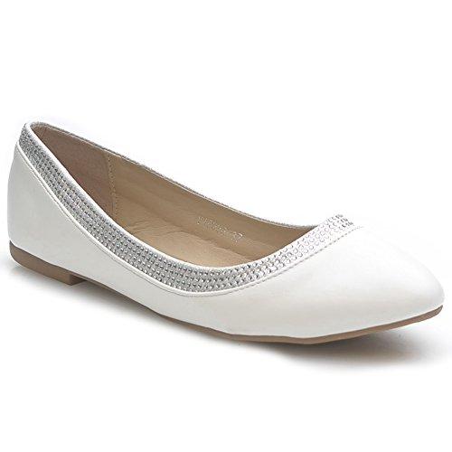 Kayla shoes Damen Elegante Ballerinas Schuhe Y18033 White