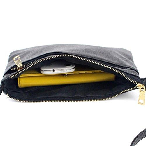 Transer PU leather Handbags & Single Shoulder Bags Women Zipper Bag Girls Hand Bag, Borsa a spalla donna Khaki 25cm(L)*17(H)*3cm(W) Black
