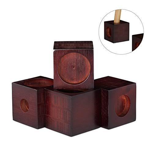 Relaxdays Möbelerhöhung aus Bambus, Würfel im 4er Set, Tischerhöhung, Sockelfuß, Stuhlerhöhung, 9,4 cm groß, Dunkelbraun -