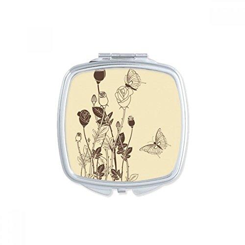 DIYthinker Rose Schmetterling Blätter Blumen Plant Square Compact Make-up Spiegel Beweglicher Netter Handtaschenspiegel Geschenk Mehrfarbig - Square Schmetterling Blatt
