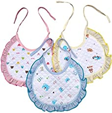 Baby Shopiieee Cotton Bibs with Frill, One Size (Frill Multicolour) - Pack of 3