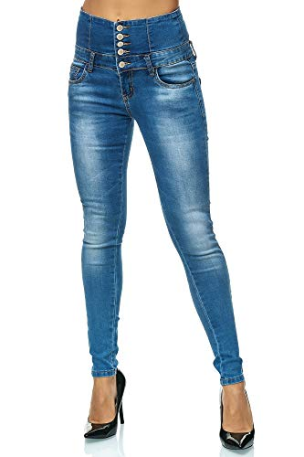 Elara Damen Stretch Hose | High Waist Jeans| Skinny | hoher Bund | Slim Fit | Chunkyrayan M461 Blue 38