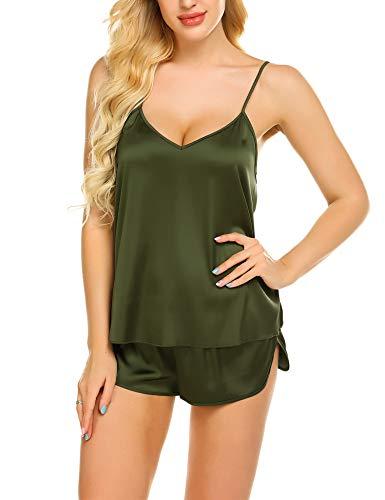 Cami Short Set (Skine Damen Schlafanzüge Satin Kurz Sexy Wäsche Nachtwäsche Solid Pyjamas Sets Chemises Cami Top & Shorts Verstellbarer Träger 2 Stück)