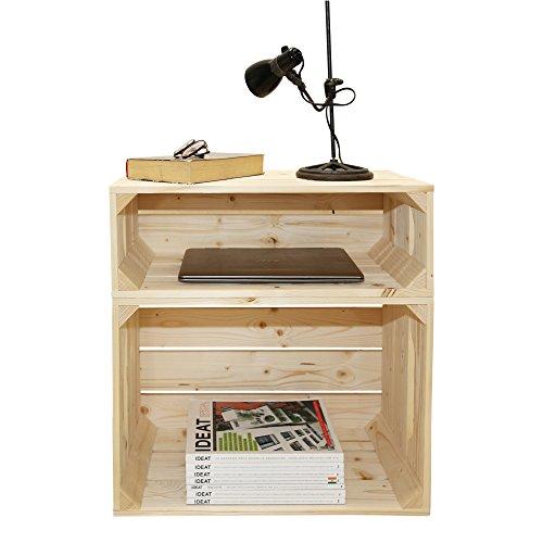 Table de chevet 1S1H - Kit prêt à assembler - caisses en bois (x2) - Fabriquée main en France …