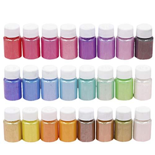 Healifty 24PCS polvere di mica pigmenti minerali di trucco non tossico perla colorante per fai da te lavoro manuale nail art sapone facendo