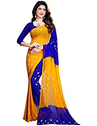 Amyaa Fashion Women's Chiffon Saree With Blouse (Yellow & Blue_ Free Size)