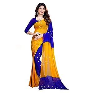 Amyaa Fashion Women's Chiffon Saree With Blouse Piece (AF_Yellow & Blue_S_Yellow & Blue)