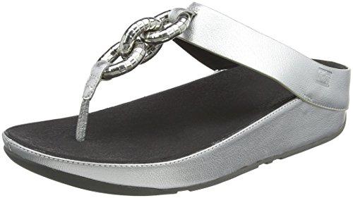 FitFlop Damen Superchain Imi-Lea Toe-Post Sandalen, Silber Silber (Silberfarben)