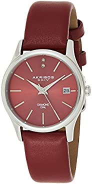 Akribos XXIV Women's AK879GN Diamond Accented Stainless Steel Leather Strap W