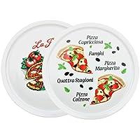 2er Set Pizzateller Napoli & Margherita groß - 32cm Porzellan Teller mit schönem Motiv - für Pizza / Pasta, den 'großen Hunger' oder zum Anrichten geeignet