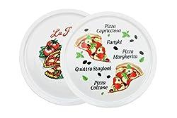 Van Well 2er Set Pizzateller Napoli & Margherita groß - 30,5cm Porzellan Teller mit schönem Motiv - für Pizza/Pasta, den'großen Hunger' oder zum Anrichten geeignet