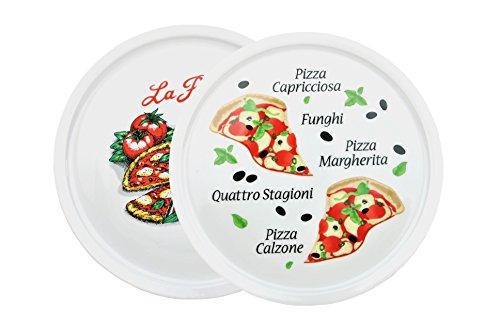 2er Set Pizzateller Napoli & Margherita groß - 32cm Porzellan Teller mit schönem Motiv - für Pizza / Pasta, den \'großen Hunger\' oder zum Anrichten geeignet