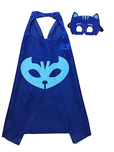 ygql 2Ein Set PJ Masken Kostüme für Kinder catboy Maske mit Umhang (69,8cm) (Pj Maske Kostüm Disney)