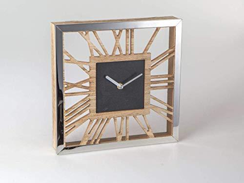 Formano 687784 Wanduhr eckig 30x30cm Edelstahl - Holz eine Kombination aus naturfarbenem Holz mit glänzendem Edelstahl-Rand