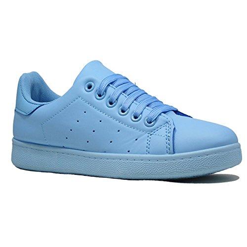 Un Confort pour femme course à pied sport dentelle jusqu'à formateurs Sneakers Taille Bleu clair