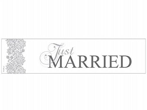 2X AUTO Shields Targa Auto Auto Targa Auto Coppia di Sposi decorazione auto gioielli matrimonio Car Auto Wedding Deko PKW Just Married - Silver