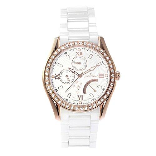 Stella Maris STM15M5 -Women's Watch - White Watch Dial - Analog Quartz - White Ceramic Bracelet - Diamonds - Swarovski Elements - Stylish - Classy