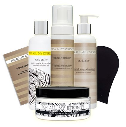 For All My Eternity HERO SELF TAN PACK Gift Set EVERYTHING for the PERFECT FAKE TAN - Natural Organic Tanning Mousse, Gradual Tan Lotion, Exfoliating Body Scrub, Body Butter & Tan Applicator
