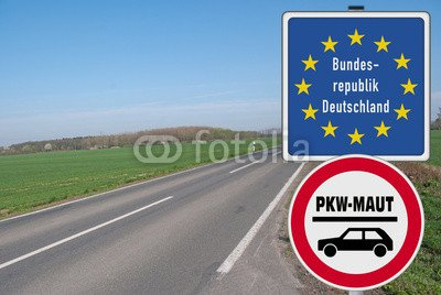 """Poster-Bild 30 x 20 cm: """"Grenzschild PKW-Maut"""", Bild auf Poster"""