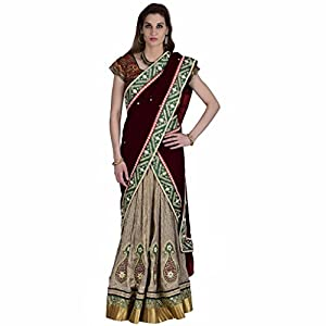 Ashi's Brocade Off-white & marron Hand embroideryLehenga choli