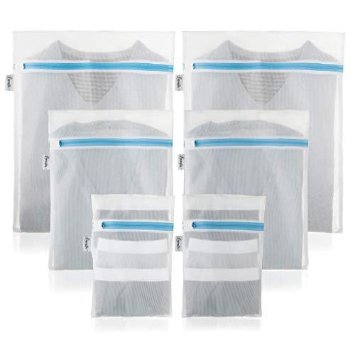 Premium Wäschenetz für Waschmaschine und Trockner (6er-Set) - optimal für BH, Dessous und Schuhe I Kochfest I Wäschesäcke mit verbessertem Reißverschluss