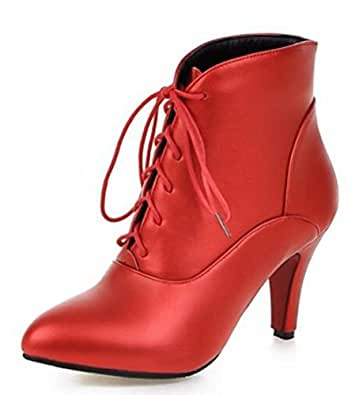 Easemax Damen Glanz Spitze Zehe High Heels Stilettos Stiefel Pumps Schwarz 42 EU QEcbR0No