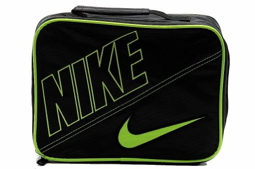 Nike Boys Insulated Lunch Box Tote With Swoosh Black Green