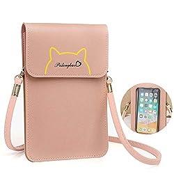 EQLEF Mini umhängetasche, Cute PU-Leder-Handytasche mit Screen Touch Clear Window Crossbody Geldbörse für Telefonschlüssel Geldkarten (Rosa)