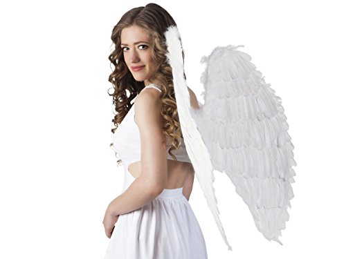 Alsino Engelsflügel aus Federn Karneval Flügel Fasching Verkleidung Engelskostüm, wählen:weiß 87x72cm 52802