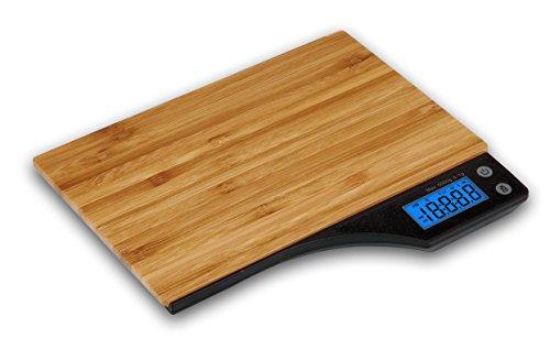 Kabalo Hölzerne Bambus Digitale Küchenwaage, für Haushalt, Lebensmittel, Kochen, Wiegen. 5 kg Kapazität 5000g / 1g, Batterien im Lieferumfang enthalten! Schlankes Design, mit Digital-elektronische LCD-Display mit blauer Hintergrundbeleuchtung