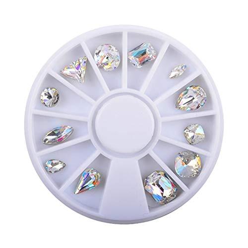 Lurrose 12pcs ongles gemmes strass ongles cristal diamants pierres charmes dos plats strass pour la décoration des ongles bricolage artisanat