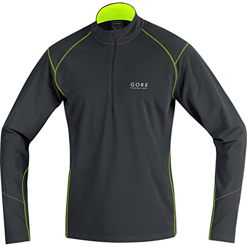 GORE RUNNING WEAR Herren Warmer Thermo-Lauf-Jersey, GORE Selected Fabrics, ESSENTIAL Thermo Zip Shirt long, Größe L, Schwarz/Neongelb, SESSET