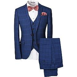 Trajes de Espiga de Espiga para Hombre Traje Azul Marino con 3 Piezas Slim Fit Vintage